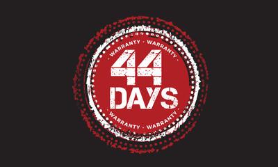 44 days warranty icon vintage rubber stamp guarantee