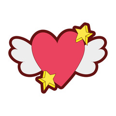line color love heart with wings and stars design
