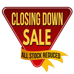 Closing down sale label or sticker
