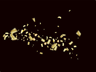 Vector Golden Tinsel Festival Confetti. Birthday, Christmas, New Year Party Celebration Firework Decor. Falling Down Fairy Festival Gold Foil Tinsel Vector Confetti Frame. Modern Gift Voucher Border