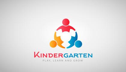 Kindergarten Kids Logo. Vector Illustration