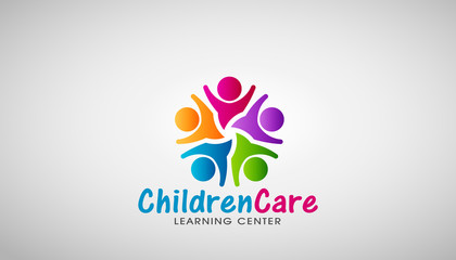 Children Care Logo. Vector Design Illustration