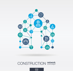 Construction integrated thin line web icons in home shape.. Digital network concept. Connected graphic design polygons and circles system. Abstract background for engineer, architecture, build. Vector