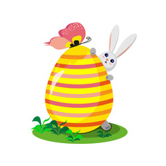 Easter bunny with a big colorful egg on a white background. Vector illustration.