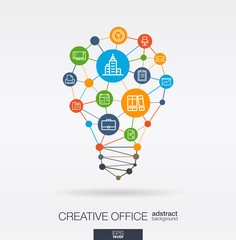Business office work integrated thin line web icons. Idea, solution in light bulb shape. Digital network concept. Connected polygons and circles system. Abstract teamwork workspace background. Vector