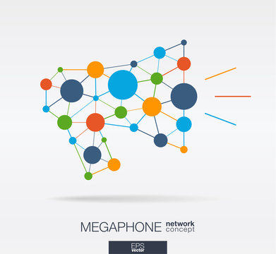 Abstract social media market background. Megaphone message graphic design idea. Digital network polygonal line and circle system. Repost, announcement connected concept. Vector interaction icon