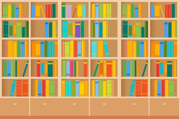 Bookshelves full of books both in the library. Vector illustration