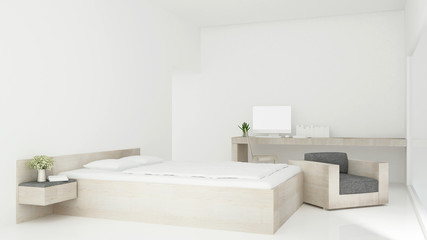 Bedroom and living area in hotel or condominium simple design - Bedroom and workplace in apartment or hotel  - 3D Rendering