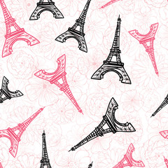 Vector Black Pink Eifel Tower Paris and Roses Flowers Seamless Repeat Pattern Surrounded By St Valentines Day Hearts Of Love. Perfect for travel themed postcards, greeting cards, wedding invitations.