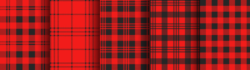 Set of red plaid and gingham seamless patterns. Vector backgrounds