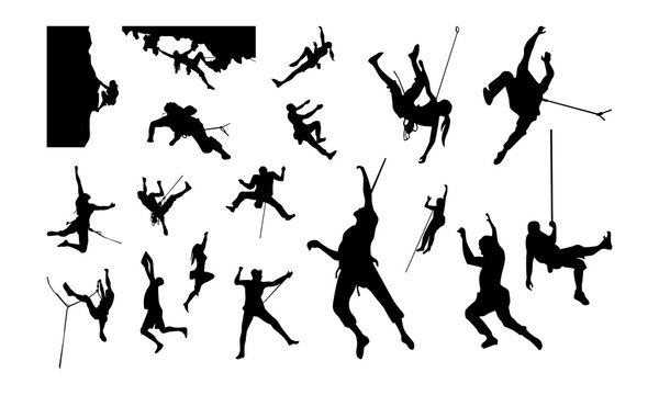 Set of Climber Silhouette vector illustration