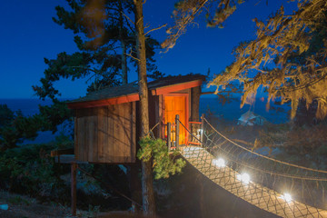 Woooden Tree House in Big Sur at Night