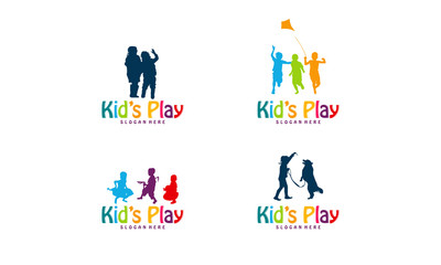 Set of Kid Play logo template, Set of Child Play silhouette logo designs concept vector illustration