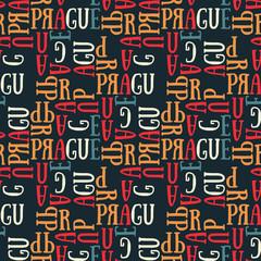 Prague seamless pattern. Autentic artistic design for background.