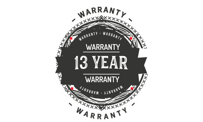 13 years warranty icon vintage rubber stamp guarantee