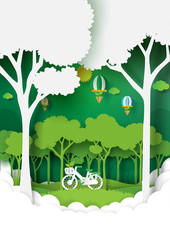 Eco and nature concept paper art style design.Forest plantation with green environment and ecology conservation concept.Vector illustration.