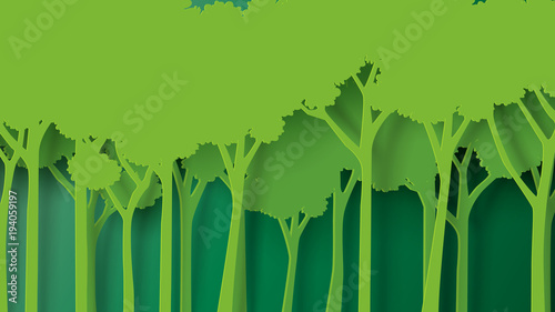 Eco green nature forest background template Forest