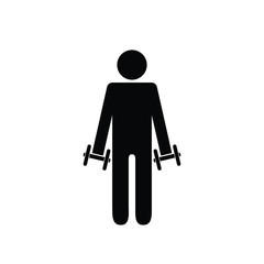 Pictogram man holding light dumbbells in front on his sides. Isolated vector on white background.