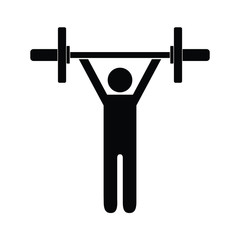 Pictogram man holding barbell with two weights above his shoulders. Isolated vector on white background.