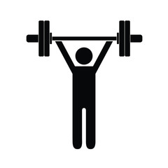 Pictogram man holding barbell with four weights above his shoulders. Isolated vector on white background.