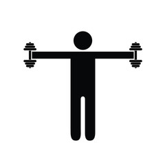 Pictogram man holding heavy dumbbells on his sides at shoulder height. Isolated vector on white background.