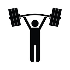 Man figure holding bent barbell on white background. Isolated vector icon.