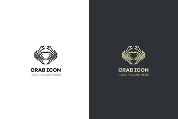 Stylized geometric crab illustration. Vector icon tribal design