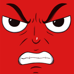 Mad angry face isolated in red color.