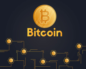 Bitcoin cryptocurrency on black background style