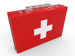 First Aid kit box isolated on white background. Health and Medical concept. 3d illustration.