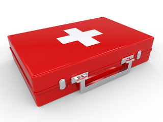 First Aid kit red medical box on white background. Health and Medical concept. 3d illustration