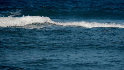 Waves in the ocean / An ocean is a body of saline water that composes much of a planet's hydrosphere.