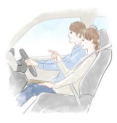 運転する男性と女性
