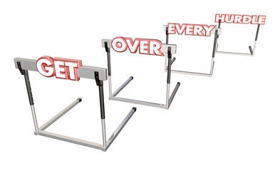 Get Over Every Hurdle Overcome Challenges 3d Illustration