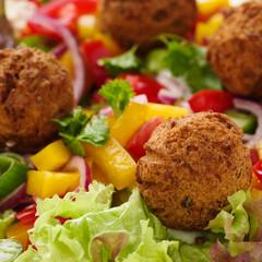 Falafel mit Gemüse und Salat