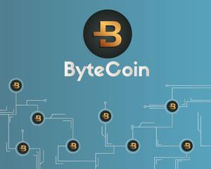 Bytecoin cryptocurrency blockchain revolution background style