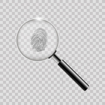 Magnifier with finger print on transparent background. Vector.