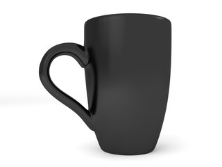 3d render isolated on white background black  mug.