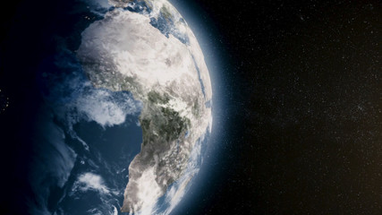 Planet earth with sun rising from space. The Earth from space showing all they beauty. Extremely detailed footage. Planet earth with sunrise in space. Animation