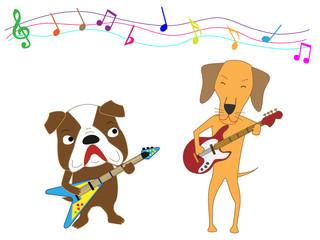 犬のコンサート。犬がギターを演奏している。