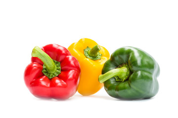Sweet bell pepper isolated on white background, Red, Freen, Yellow