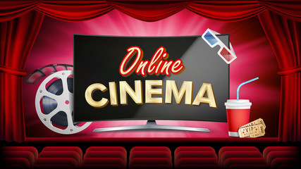 Online Cinema Vector. Banner With Computer Monitor. Red Curtain. Theater, 3D Glasses, Film-strip Cinematography. Online Movie Banner, Poster. Illustration
