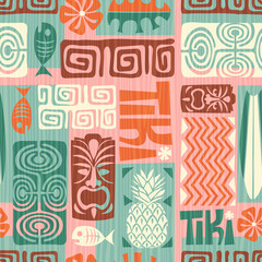 Seamless Exotic Tiki Pattern. Vector illustration