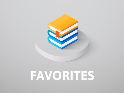 Favorites isometric icon, isolated on color background