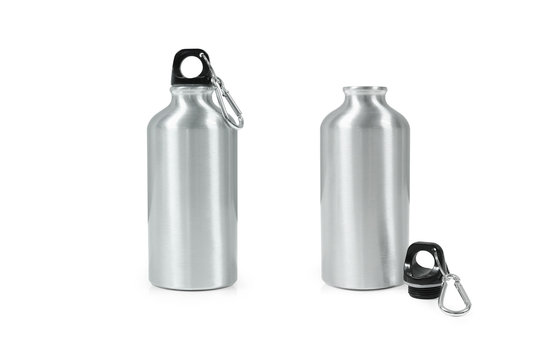 Metallic bottle isolated on white background. Template of empty water bottle for keep temperature.