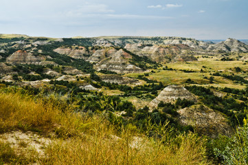 Landscape. Painted Canyon in Badlands, North Dakota. Aerial View.