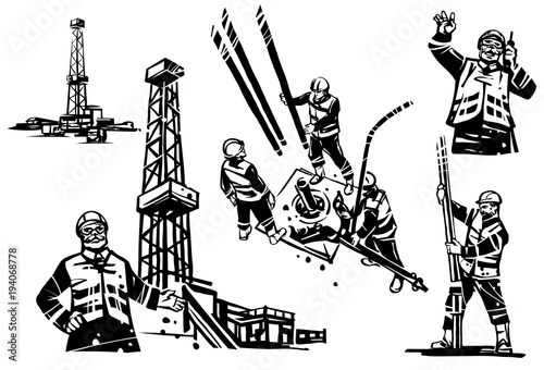 An oil engineer with a radio on the background of a drilling