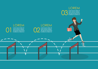 Business woman with elastic spring shoes jumping over hurdle infographic jumping over hurdle infographic
