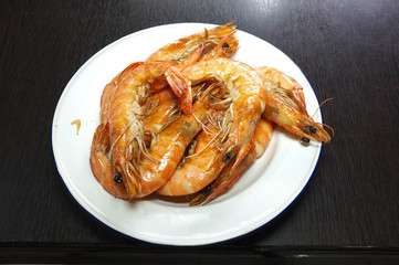 Picture for THAI seafood catalogs menu , Cooked, boiled, steamed shrimp, prawn , Fresh boiled or steamed shrimps