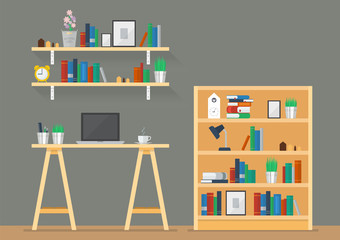 Working space with bookshelves in flat style